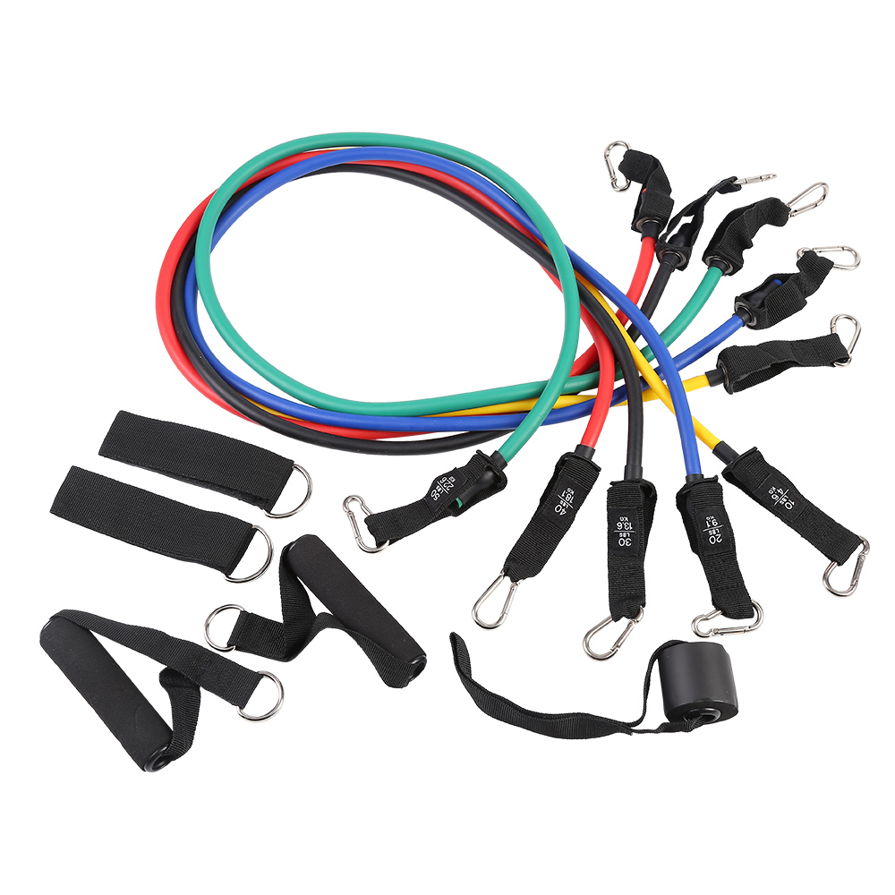 11 pcs set home elastic fitness theraband exercise gym band resistance with handles
