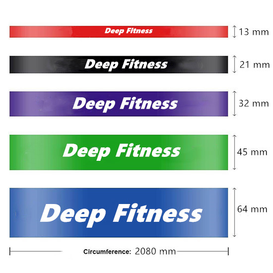 2080mm circumference single color resistance power bands set of 5