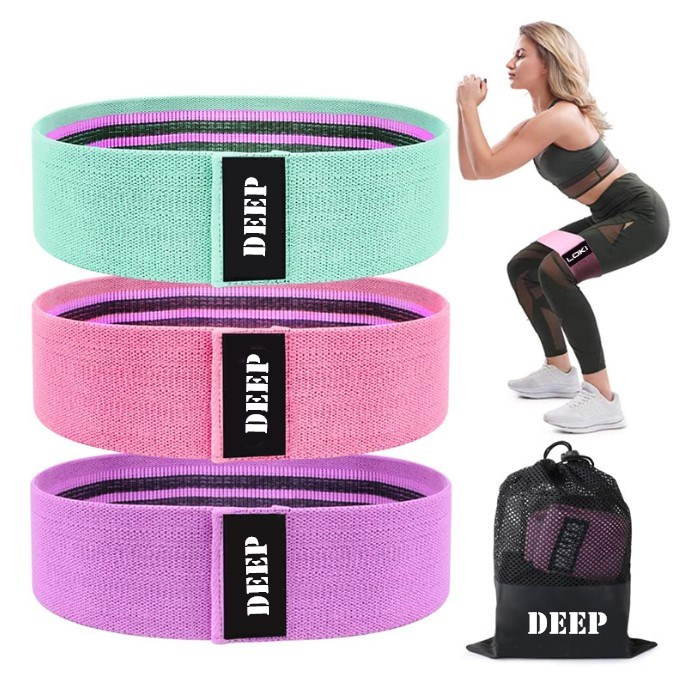 3pcs Set Workout Exercise Fitness Stretch Loop Fabric Resistance Hip band