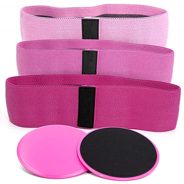 Custom Resistance Hip Bands Premium Exercise Bands core sliders set