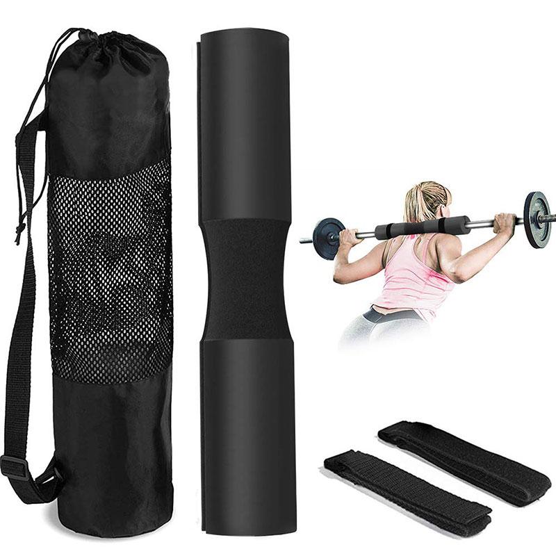 Custom logo Barbell pad Long Black Neck Shoulder Barbell Squat Pad with straps