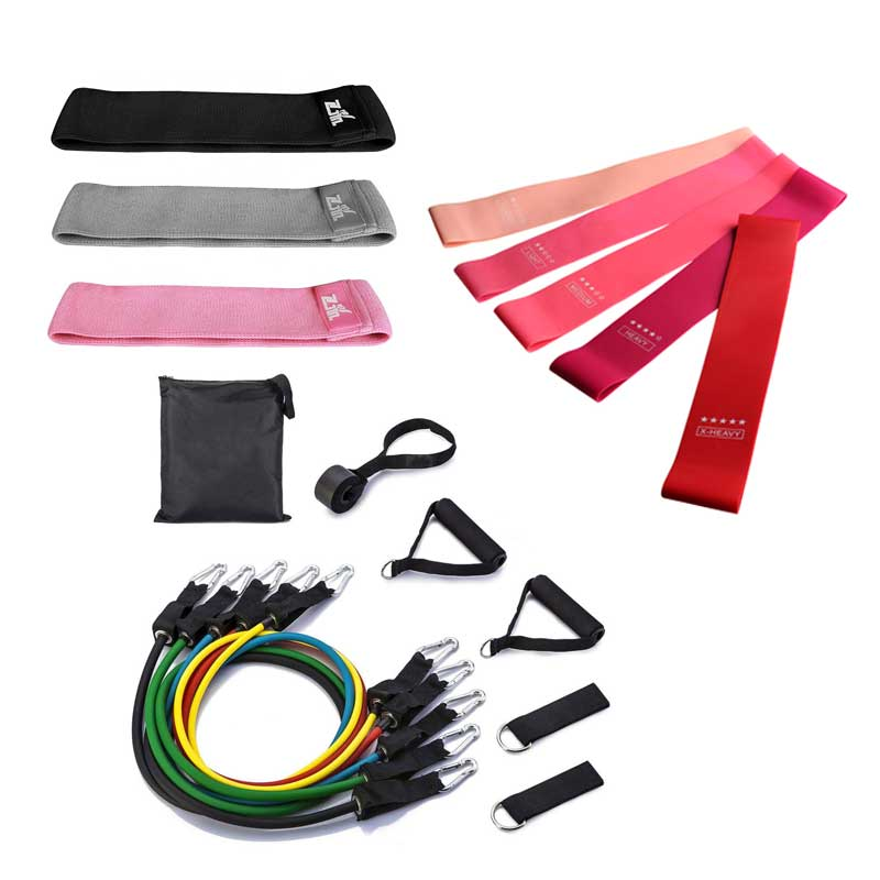 Custom logo gym yoga fitness hip loops elastic stretch bands 11 pcs latex fabric workout fit long resistance bands set wholesale