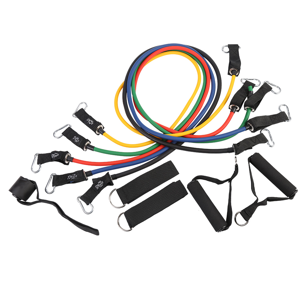 Customize 11pc printed bande elastiche latex bandass elastic bungee resistance band fitness with bag