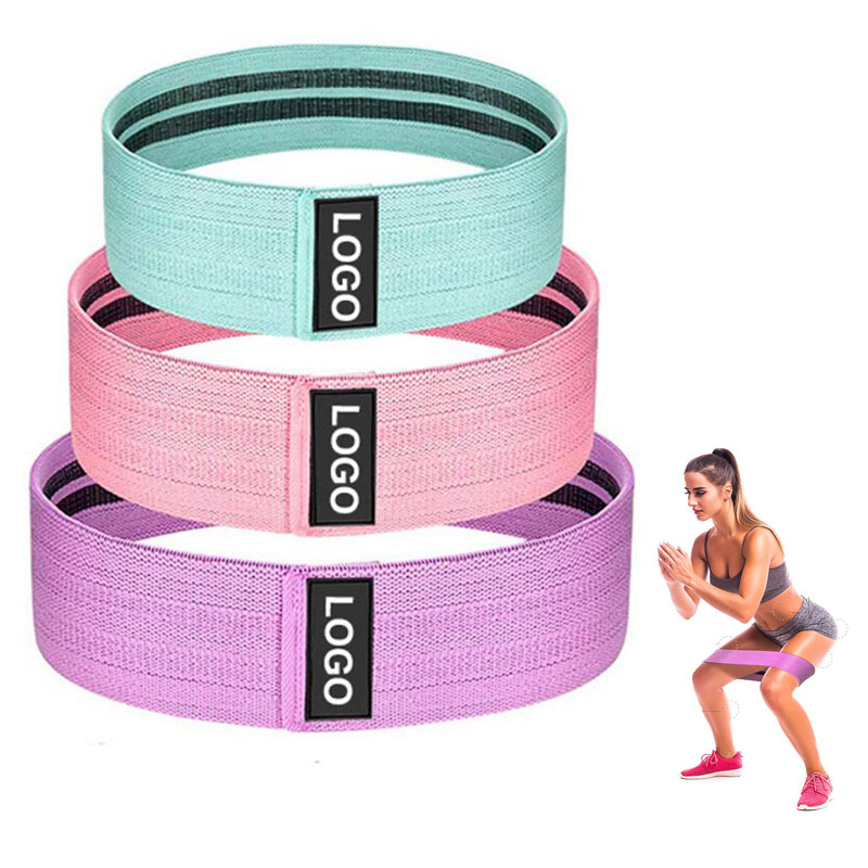 Fabric Resistance Bands 3 Pack No Slip custom logo Exercise Booty bandas de resistencia