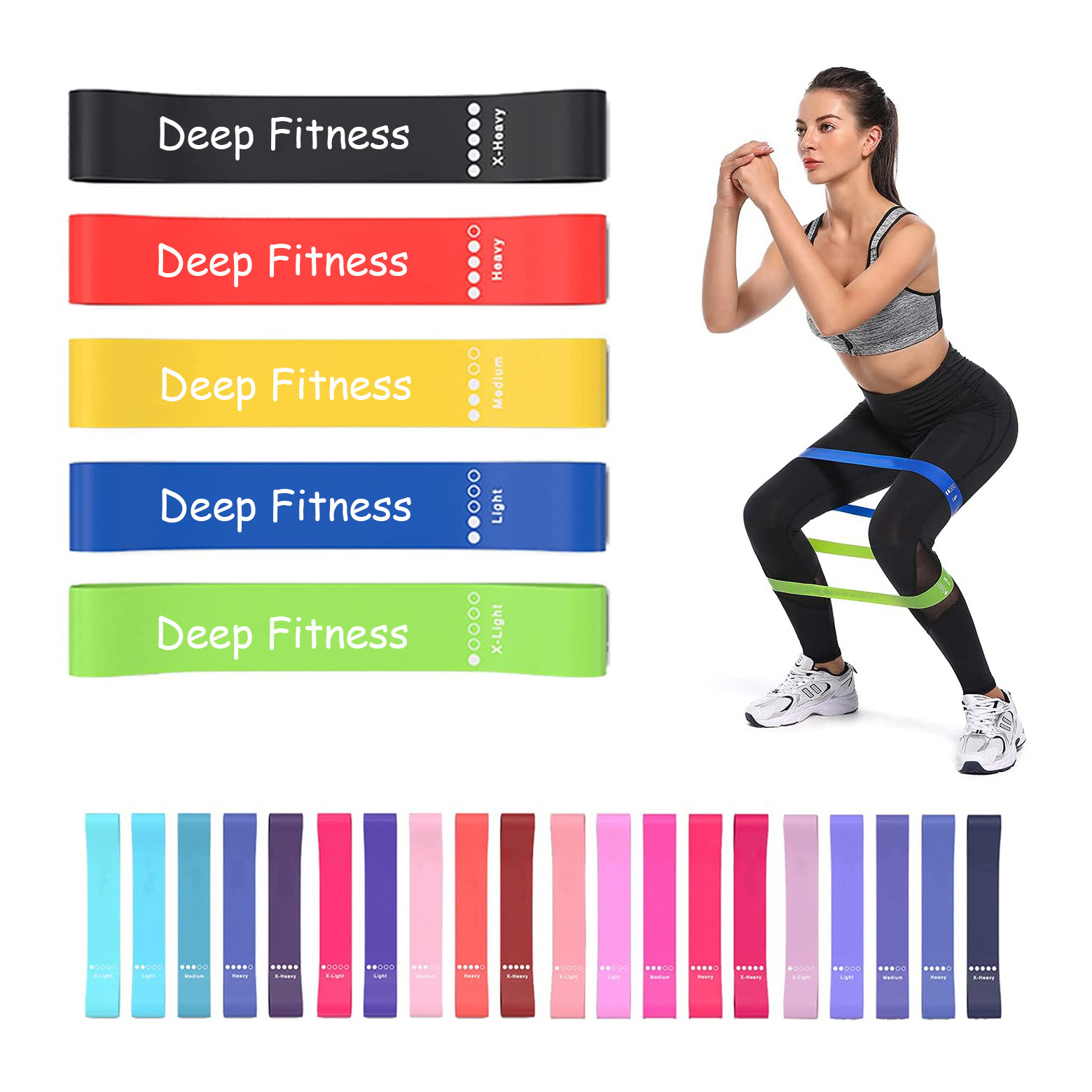 Fitness Resistance Latex Mini Loop Yoga Band 5pcs Set For Home Gym Exercise booty mini bands