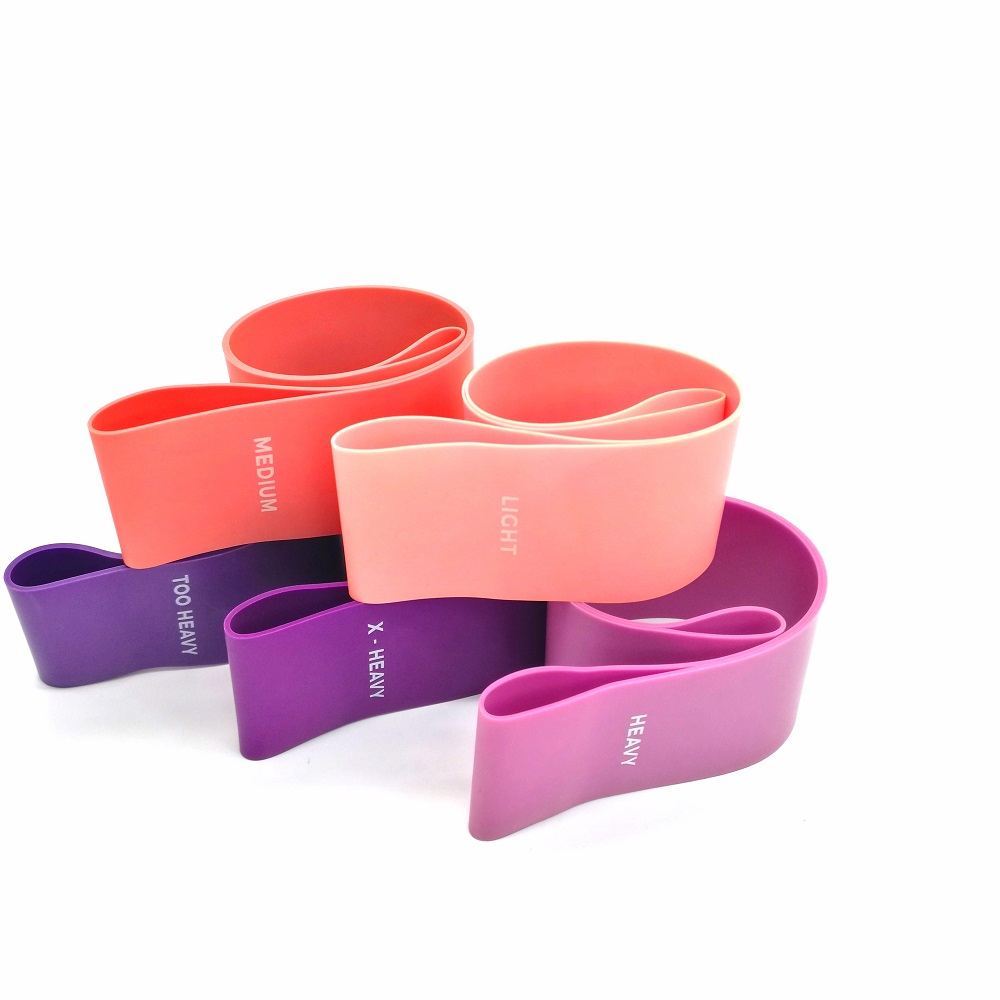 High quality exercise fitness mini latex yoga custom printed logo resistance band set/ loop resistance bands