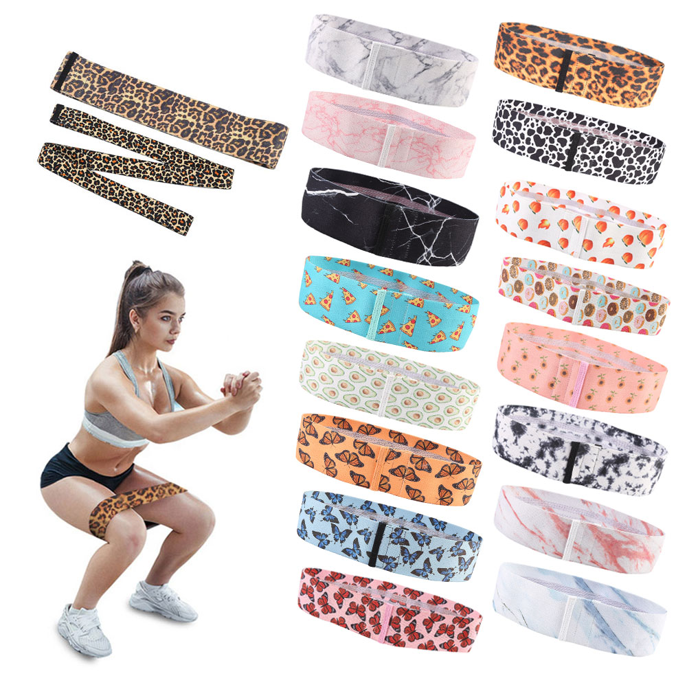 Low MOQ Factory Price Wholesale Custom Printed Logo Workout Elastic Fabric Glute Hip Resistance Bands Set
