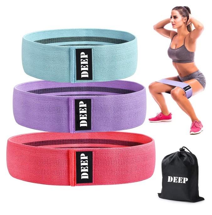 New Design Custom Logo Set of 3 Exercise Stretch Hip Circle Printed Fabric bands