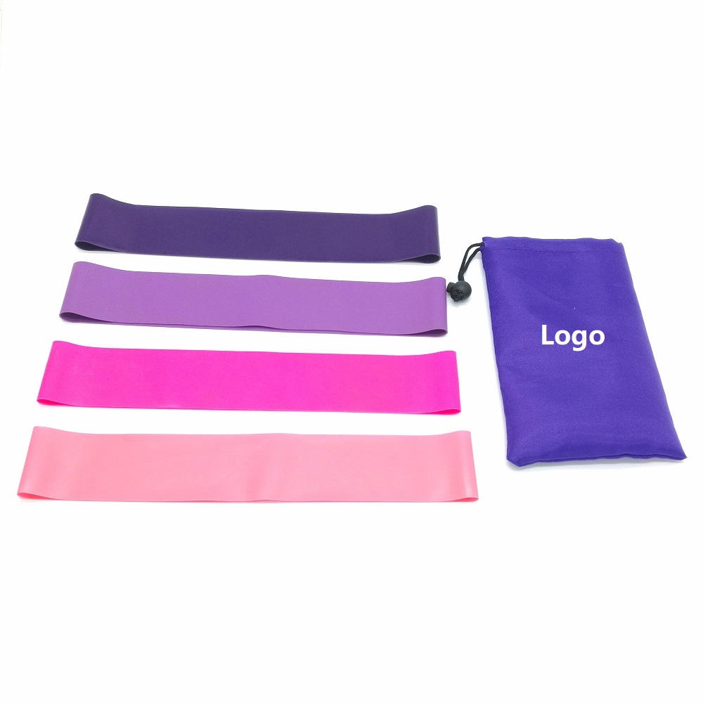 Non slip Latex 4 level Hip Resistance Band Set Booty Gulte Band Custom Logo With Carry Bag Resistance Hip circle band