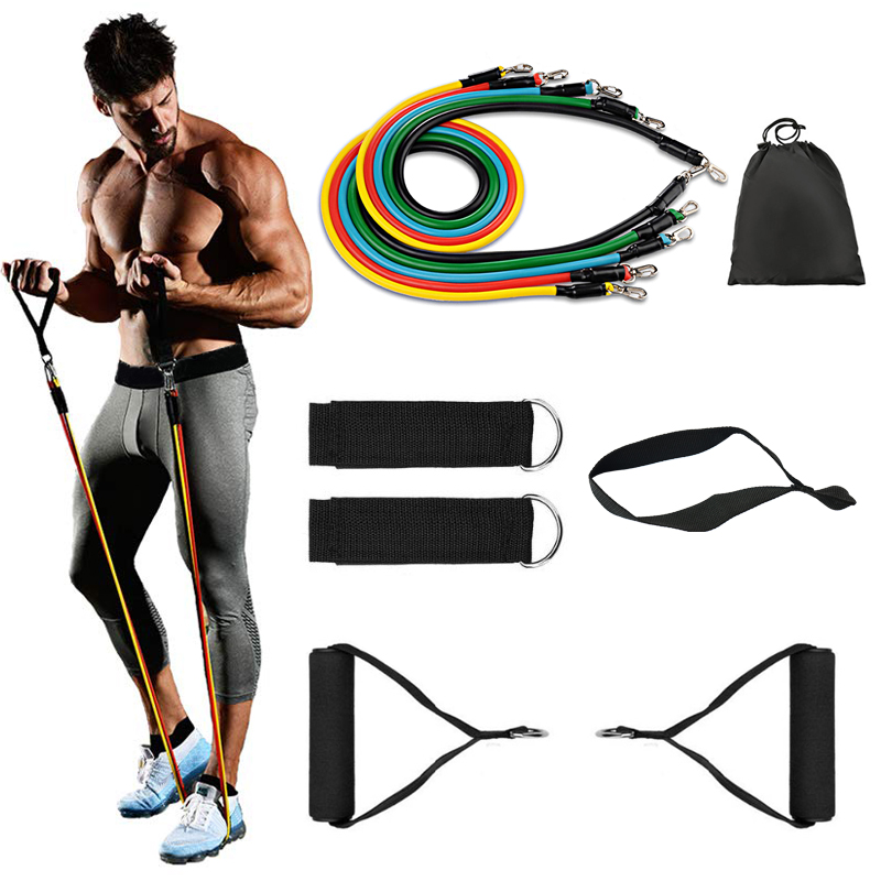 Physical Therapy Home Workout Elastic Bands 11pcs Resistance Tube, Exercise 11 Pcs Resistance Bands Set