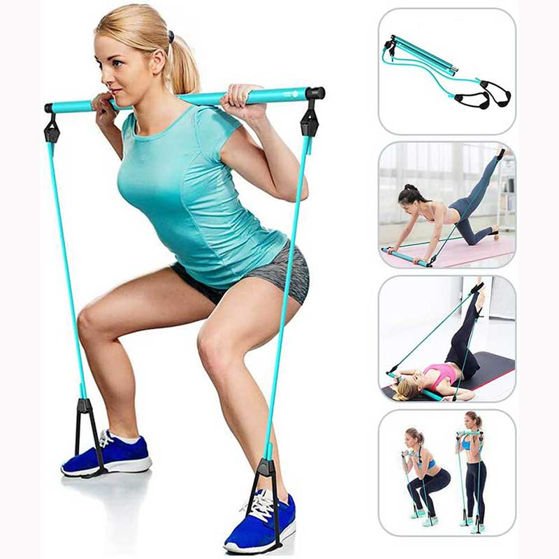 Pilates Bar Kit, High Quality Upgraded Portable Pilates Exercise Stick Toning Bar with Adjustable Resistance Band and Foot Loop for Yoga Exercise Stretch, Twisting, Sit-Up Bar Home Gym Workout