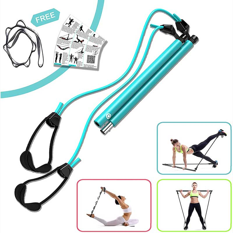 Pilates Bar Kit with Adjustable Resistance Band, Portable Pilates Bar Kit with Foot Loop, Yoga Pilates Exercise Stick Home Gym for Full Body Workout