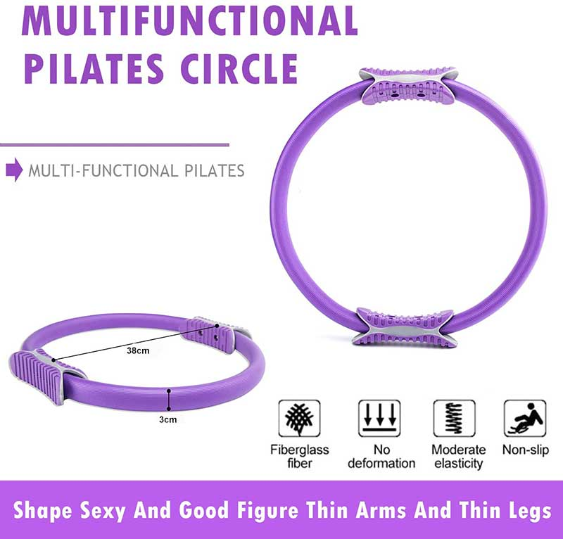 Pilates Ring,Portable Pilates Circle 15 inch Dual Grip Handles Pilates Resistance Ring for Women,Yoga Circle Stretch Ring Fitness Circle for Toning and Strengthening Thighs,Abs,Legs