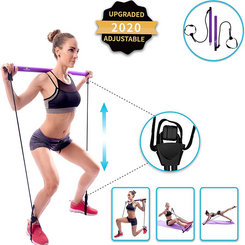 Portable Pilates Bar Kit with 25LB Thick Resistance Bands. Portable Gym Equipment For Home Exercise Bands. Multiple Use. Elastic Foot Loops Resistance Bands Workout Bar, Yoga Bar kit, & Exercise Bar.