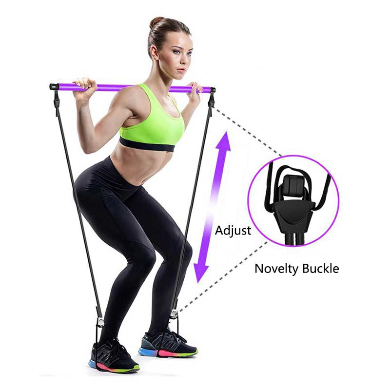 Portable Pilates Resistance Stick Kit Adjustable Exercise Stretch Band Yoga Toning Bar Muscle Hipsline Fitness Training Equipment with Foot Loop for Home Gym Total Body