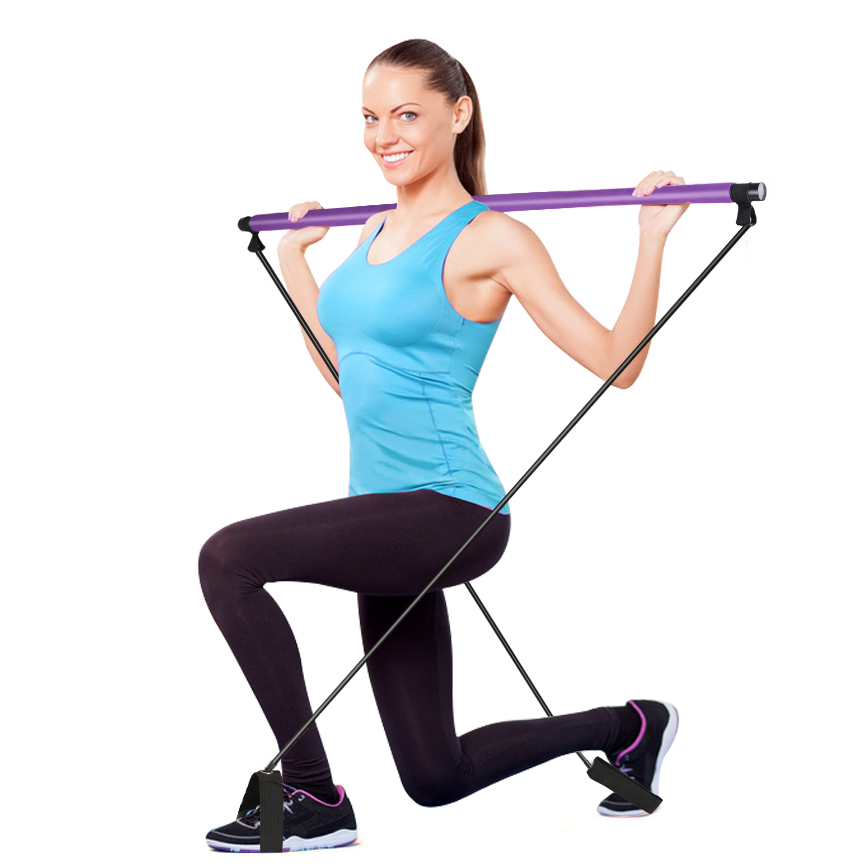 Portable Pilates Total Body Workout Yoga Fitness Pilates Resistance Band Pilates Stick Toning Bar