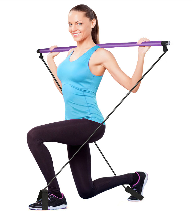 Portable Yoga exercise Pilates Stick bar with Resistance Band