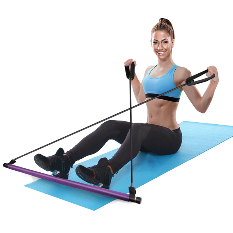 Resistance Band Portable Exercise Gym Pilates Stick Kit Yoga Bar
