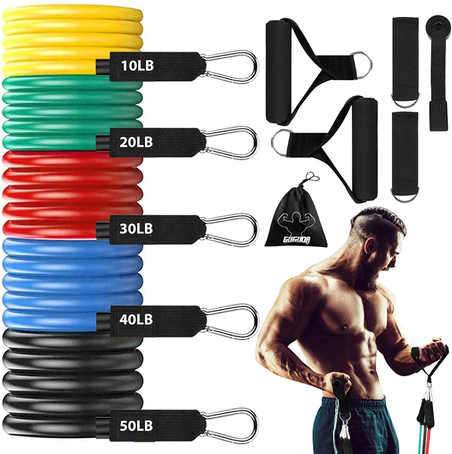 Resistance Band Set 11pcs Workout Bands Include 5 Exercise Bands
