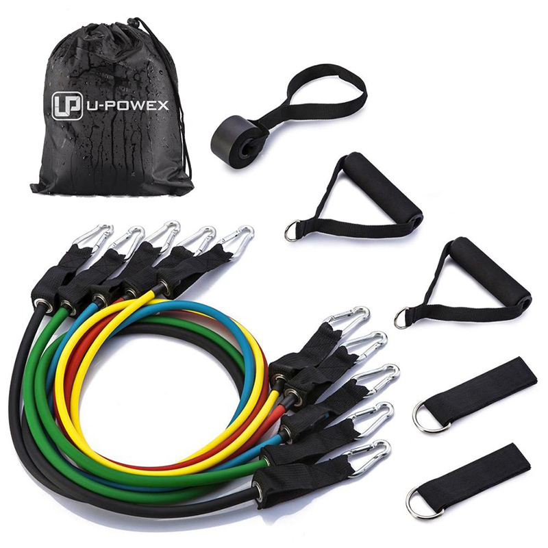 Resistance Band Set with Door Anchor, Ankle Strap, Exercise Chart, and Carrying Case