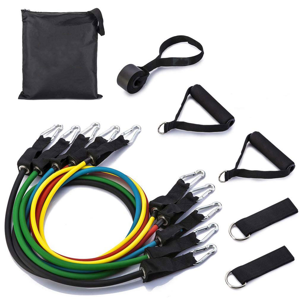 Resistance Bands Set (Pro) for Men & Women – 5 Stackable Premium Cable Bands with Handles, Door Anchor, and Ankle Straps – Best Exercise Equipment for Your Home Gym – Works Great