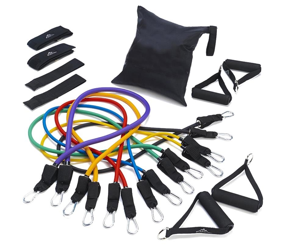 Resistance Tube, Resistance Band Set with Door Anchor, Ankle Strap, Exercise Chart, and Carrying Case
