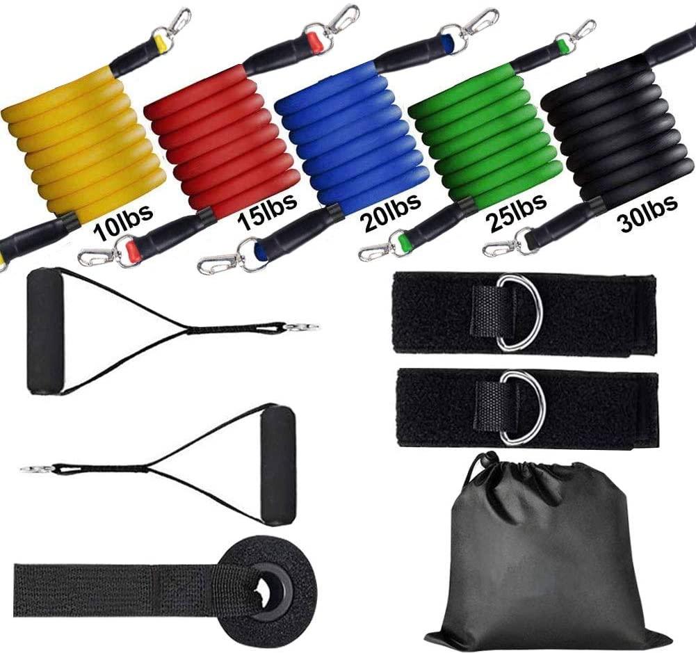 Wholesale Elastic Workout Kit Exercise Tubing Custom Printed Latex 11 Pcs Tube Fitness Resistance Bands Set