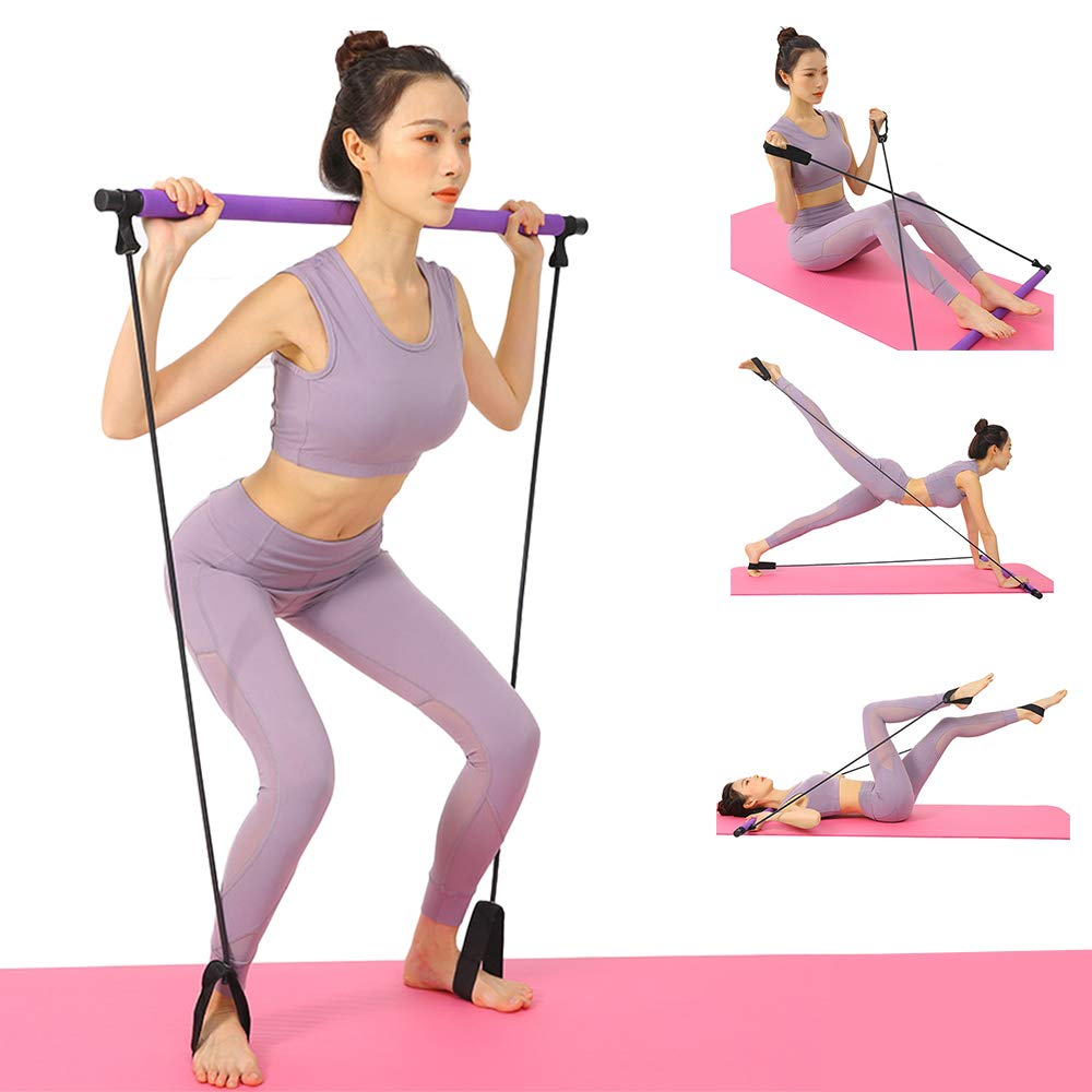 Yoga Pilates Training Bar with Resistance Rope and handles