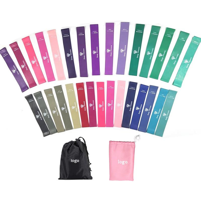 fitness gym exercise elastic custom logo Gradient Color workout latex pink resistance bands mini loop set