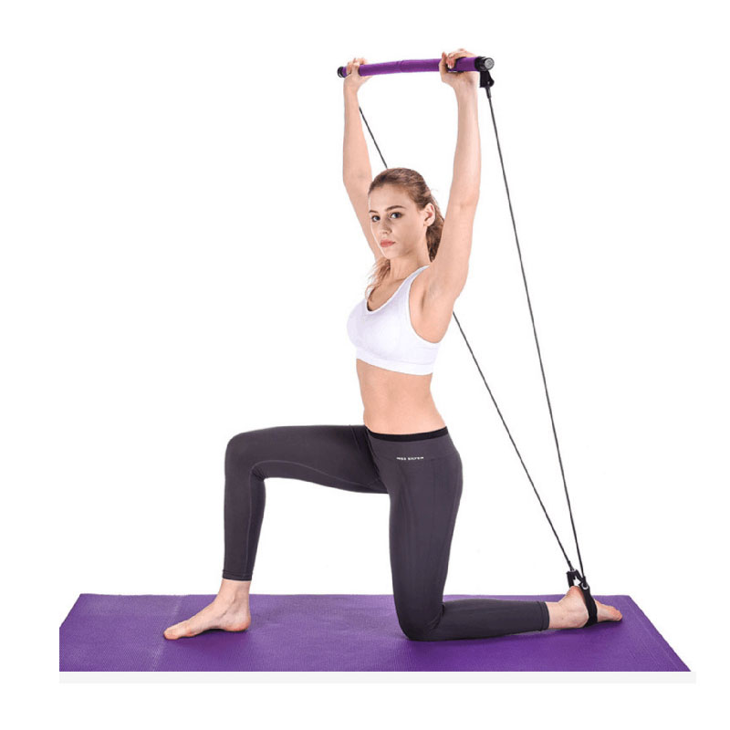 home gym Portable Pilates Bar Kit Yoga Pilates Stick Muscle Toning Bar with Resistance Band