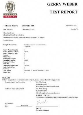 Yoga mat certificate by BV