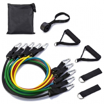 11pc resistance bands set custom logo 150lbs latex/tpe resistance bands set 11pcs
