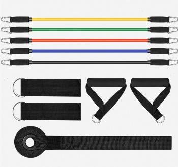 11pcs set 5 levels gym stretch resistance bands set Custom Logo Latex Training bands with handles