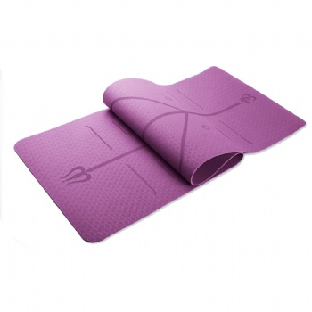 183x68cmx6mm non-slip double layer TPE yoga mat with Precise position line for yoga