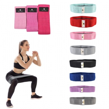 Custom Logo cotton Yoga Fitness Booty Band Loop Gym Exercise Resistance Hip Band Set of 3
