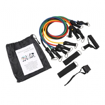 Custom logo high quality 100% latex 11pcs resistance bands manufacturer with foam handles
