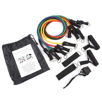 Customized Fitness Exercise Tube 11 Pcs/Set Latex Resistance Bands Training Yoga Tubes