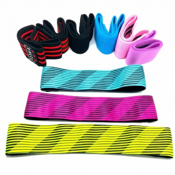 Factory direct supplier customized label exercise bands / fabric hip circle band / resistance elastic booty band