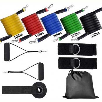 High Quality Exercise Family Fitness Bands150 Lbs 11 Piece Resistance Band Set