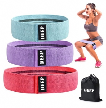 New Design Custom Logo Set of 3 Exercise Stretch Hip Circle Printed Fabric bands