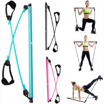 Pilates Bar Kit, Adjustable Yoga Pilates Stick with Resistance Band, Pilates Exercise Bar with Foot Straps for Men Women