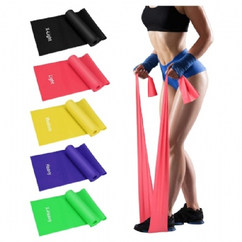 TPE Resistance Bands Set Yoga flat resistance exercise bands  5 Pack Non-Latex Physical Therapy Professional Elastic Band