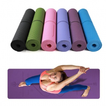 Wholesale custom TPE Yoga Mat eco friendly 6mm Pilates Mats With position line