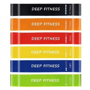 custom printed fitness band loop band 100% latex hip resistance band
