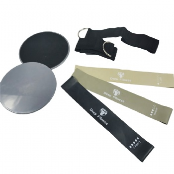 fitness black exercise resistance bands with logo and ankle straps