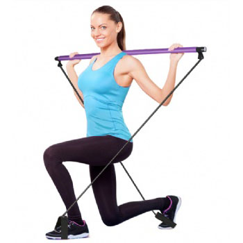 wholesale yoga pilates indoor fitness exercise bar with resistance rope